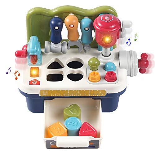 OR OR TU Spielzeug Werkbank Konstruktion für Kinder mit Geräusche Lichter Aktivität Würfel Motorikspielzeug Baby Früherziehung Formsortierer Match-Spielzeug für Jungen Mädchen 1 2 3+ Jahre