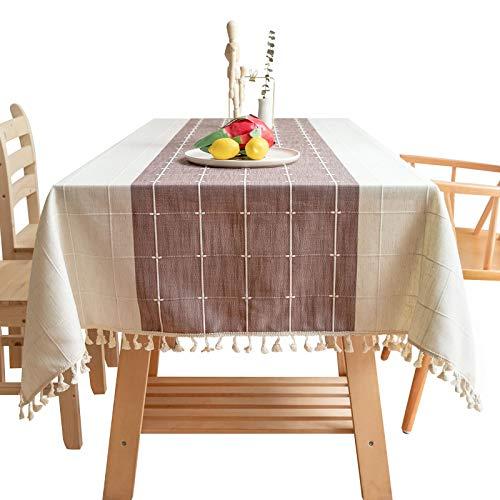 ZXQY Manteles Rectangular,Mantel Antimanchas Mantel de Lino de Algodón de Borlas Mantel Decorativo para Reuniones Familiares-D  50x60cm