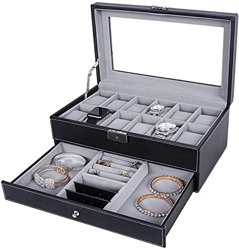 Reloj Box-12 Slots Mens Watch Organizer Faux Cuero Joyería Pantalla Funda de almohada, Caja de joyería de colección Almacenamiento, Caja de reloj de bloqueo Bandeja de pulsera con