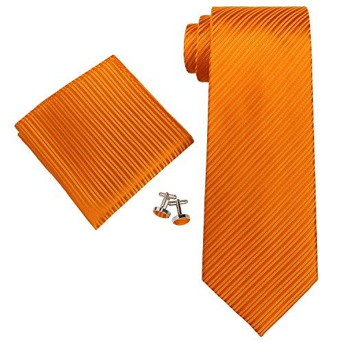 """Landisun 26C Solides Hommes Soie Cravate Ensemble Brillant Orange, 3.25""""Wx59""""L"""