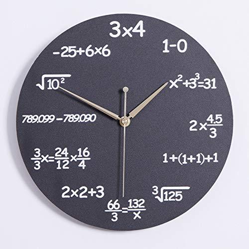 VBARV Round dekorative Uhren, einzigartiger Math Wanduhr, Jede Stunde markiert durch eine einfache Mathe-Gleichung, großen Zifferblatt-Design, für Wohnzimmer, Büro, Home Decor & Gift
