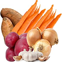 Hearty Organic Vegetable Box with Sweet Potatoes, Carrots, Red Skin Potatoes, Texas Sweet Onions, and Garlic From Organic Mountain