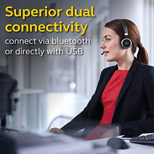 Jabra Evolve 65 MS Wireless Headset, Stereo – Includes Link 370 USB Adapter – Bluetooth Headset with Industry-Leading Wireless Performance, Advanced Noise-Cancelling Microphone, All Day Battery
