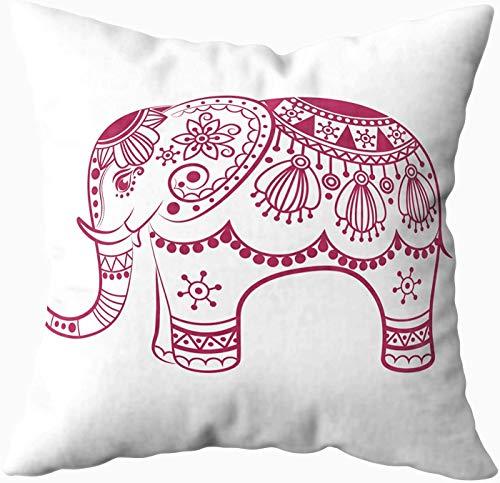 Funda de almohada, tamaño estándar, diseño abstracto de elefante, diseño de fantasía con estampado de fantasía tradicional de 50 x 50 cm, fundas de almohada para sofá o sofá