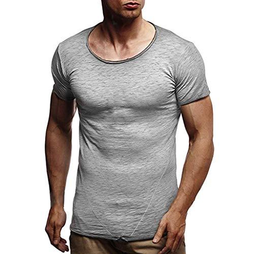 CICIYONER Herren Sommer T-Shirt Rundhals-Ausschnitt Slim Fit Baumwolle-Anteil | Moderner Männer T-Shirt Crew Neck Hoodie-Sweatshirt Kurzarm lang