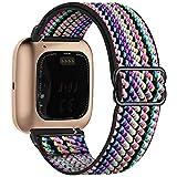 Fengyiyuda Nylon Correa Compatible con Fitbit Versa 2/Versa/Versa Lite/Versa SE,Elástico Bandas Suaves para Relojes Inteligentes, Seporte Hebillas Ajustables,correas de repuesto,Colorful