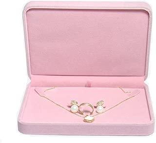 TIKIYOGI Wedding Jewelry Sets Velvet Box Necklace Earring Ring Display Case Storage Holder (Pink)