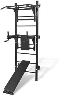 vidaXL montowana na ścianie wielofunkcyjna wieża fitness czarna siłownia stacja zanurzeniowa