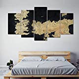 BHJIO Canvas Prints 5 Pieces Wall Decor Prints On Canvas 5 Piece Painting Mural Game of Throne Map Poster Hd Print Canvas Art Wall Decor 5 Panel Ready to Hang Gift-(Large Size 60X32Inch)