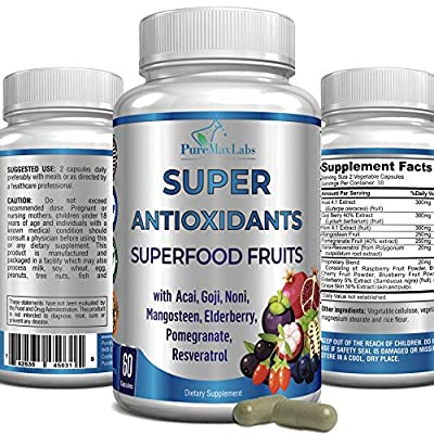Super Antioxidant Fruit Superfood Complex 60 Capsules, Powerful Antioxidant Superfruits, Acai, Goji, Noni, Mangosteen, Pomegranate, Elderberry, Resveratrol, Immune Support, Skin Care