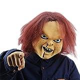 NUWIND - Máscara de Látex Muñeco Diabólico Chucky Doll Killer Mask con Cabello Castaño para Fiesta H...