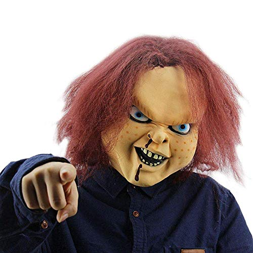 NUWIND - Máscara de Látex Muñeco Diabólico Chucky Doll Killer Mask con Cabello Castaño para Fiesta Halloween Disfraz Unisexo Talla única