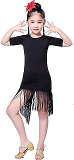 Yamyannie-Gdr Vestido de Baile de Las niñas, Niñas niños Manga Corta Slit Borlas Vestido de Baile Rumba Samba Salón de Bai...