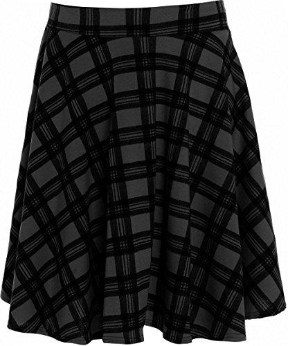 Falda de vuelo para mujer, tallas grandes, sencilla, estilo patinadora, diseño de tartán, tallas 42 a 56 negro BLACK TARTAN 42