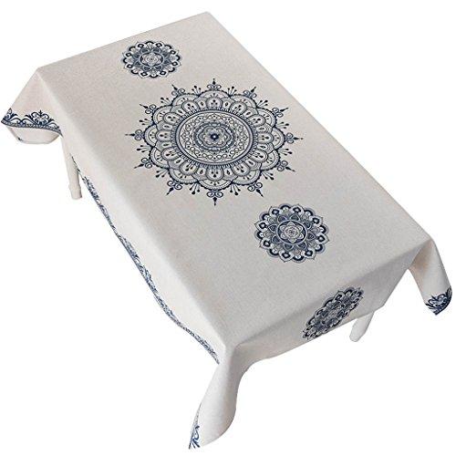 Nappes de coton New National Wind tissu de fête de l'an épaissi gélatines nappes rectangulaires en tissu (Color : White-A, Size : 100×140cm)