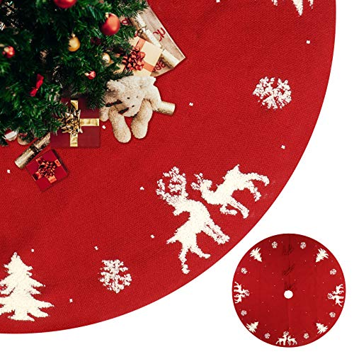 iWedn Christmas Tree Skirt 48 Inch Knit Rustic Red Xmas Tree Skirt Decoration (Deer, Trees(3D Pattern))