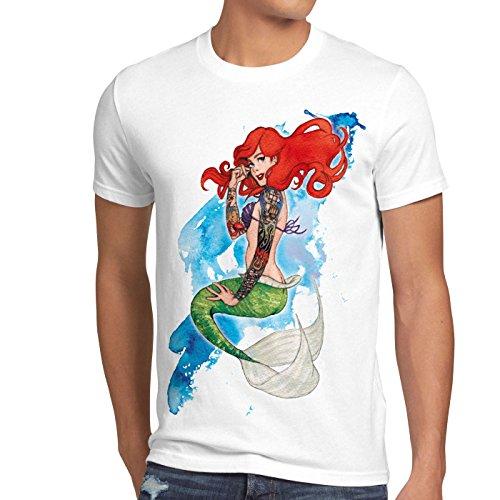 style3 Arielle Tattoo Herren T-Shirt meerjungfrau Biker Motorrad Punk Rock, Farbe:Weiß, Größe:4XL
