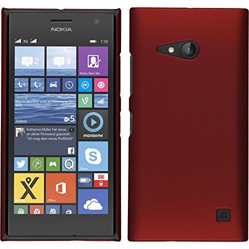 PhoneNatic Hülle kompatibel mit Nokia Lumia 730 - Hülle rot gummiert Hard-case + 2 Schutzfolien
