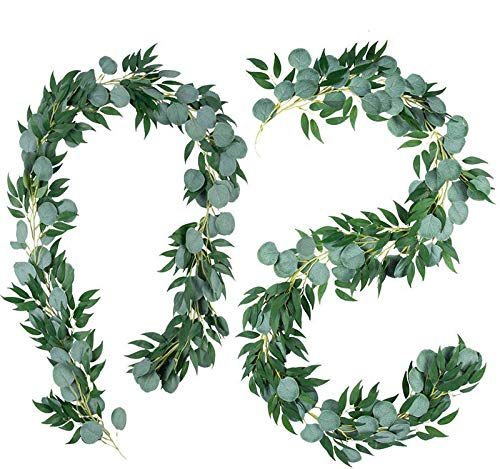 13ft Eucalyptus and Willow Garland, 2Pcs Artificial Eucalyptus Garland Faux Silk Eucalyptus Vines Handmade Garland Leaves for Home Garden Wall Doorway Decoration Wedding Party Decor