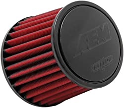 AEM 21-202DK Universal DryFlow Clamp-On Air Filter: Round Tapered; 2.75 in (70 mm) Flange ID; 5.25 in (133 mm) Height; 6 in (152 mm) Base; 5.125 in (130 mm) Top