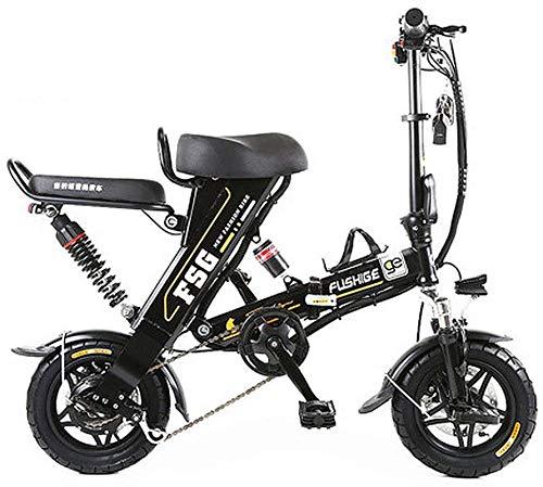 RDJM Bici electrica Bicicletas eléctricas for adultos, de 12 pulgadas de neumáticos plegable bicicleta eléctrica con 8/10 / batería de litio 12.5AH, elegante Ebike con el diseño único, 3 modos de trab