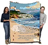 Jesus Footprints in The Sand Spanish - Huellas - Sympathy - Cotton Woven Blanket Throw - Made in The USA (72x54)