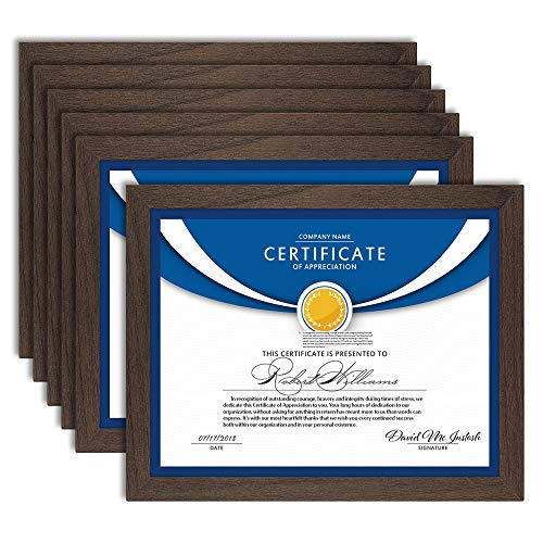Icona Bay 8.5x11 Diploma Frames (Hickory Brown, 6 Pack), Sturdy Wood Composite Certificate Frames, Sleek Document Frames Bulk, Sleek Design, Table Top or Wall Mount, Exclusives Collection
