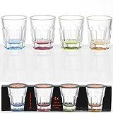 Stapelbares 50 ml Whisky-Glas mit farbigem Boden, unzerbrechlich: 4 Stück Acryl Schnapsglas Camping...