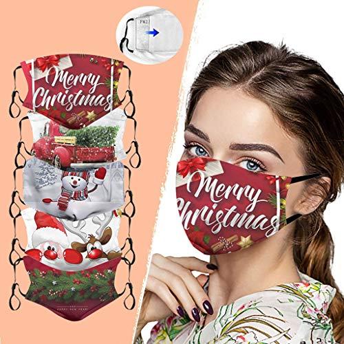 Gesichtsschutzschild, Mundschutz,Atemschutz Mundschutz Mund und Nasenschutz,Mehrweg Stoffmasken Halstuch Bandana Tuch,Weihnachtsdruck Adult Breathable Multi-Purpose Mundschutz! 5PCS+10Filter