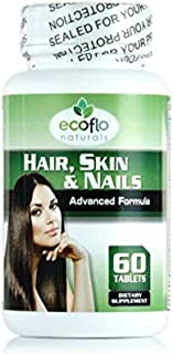 Ecoflo Naturals - Grow Hair Skin and Nails While Boosting Metabolism Naturally (Advance Formula) 60 Tablets | Non-GMO | 5000 mcg Biotin and Collagen | GMP Certified