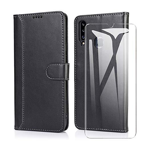 SMYTU für Samsung Galaxy A20s Hülle + mit 1 Pack Panzerglas, Klapphülle Magnetisch Handyhülle Ledertasche Schutzhülle für Samsung Galaxy A20s-Schwarz