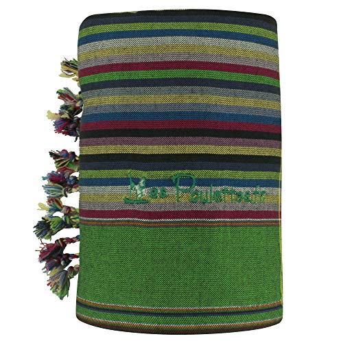 LES POULETTES Kikoy Strandtuch aus Baumwolle Streifen - Farbe Dunkelblau Grün - Rote