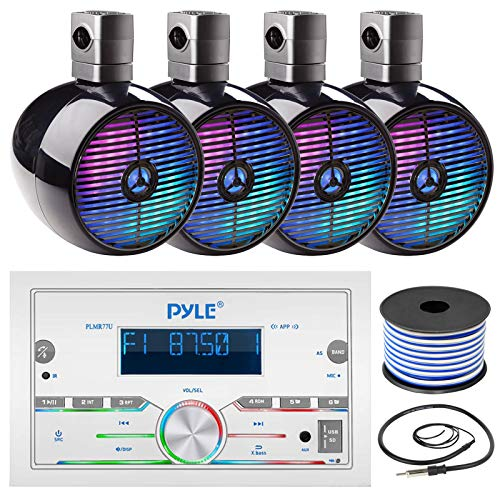 Pyle Double DIN AM FM Stereo MP3 USB AUX Bluetooth Marine Power Receiver Bundle Combo with 2 Pairs of 6.5  2-Way 300W Marine Black Wakeboard LED Tower Speakers, Wired Antenna, 18 Gauge Speaker Wire