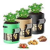 3 Piezas 10 Galones Bolsa de Cultivo de Papa Saco Plantar Patatas con Manija de Ventana de Velcro para Patata Cebolla Zanahoria Tomate Fresa Flor (Verde + Negro + marrón)