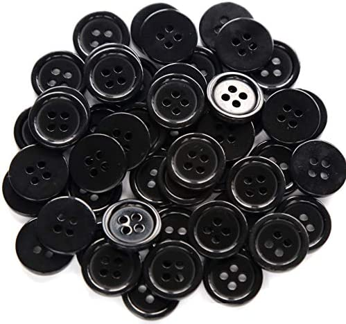 GANSSIA 5 8 Inch 4 Holes Black Buttons 15mm Sewing Round Button for Craft Pack of 160 Pcs product image