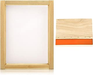 Caydo 8 x 10 Inch Wood Silk Screen Printing Frame with 110 White Mesh and 1 Piece 5.9 Inch Screen Printing Squeegee