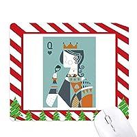 カードイラストqパターンを演奏 ゴムクリスマスキャンディマウスパッド
