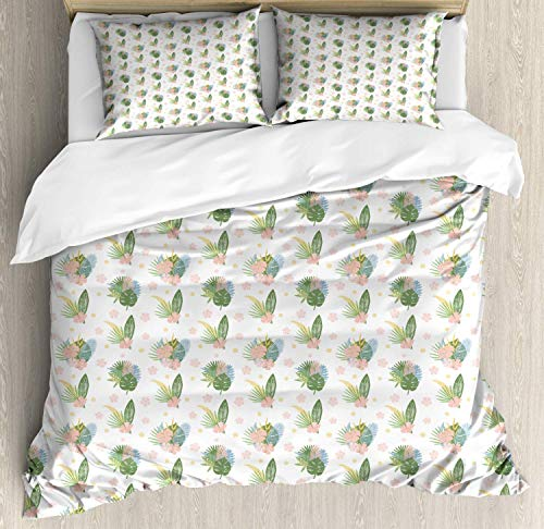 Philodendron Double Bedding Duvet Cover 3 Piece, Summer Tropic Pattern Leaves and Petals, Soft Bedding Protects Comforter with 1 Comforter Cover 2 Pillow Case, Reseda Green Blush Mustard Pale Sky Blue