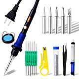 Soldering Iron Kit, 17-in-1 Welding Tool LED Adjustable Temperature 220℃-450℃, LCD Display Soldering Kit with 3 Light, Desoldering Pump, Tips and Soldering tools