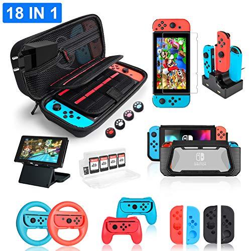 Deruitu Zubehör Set für Nintendo Switch (18 in 1) - Switch Accessories Bundle mit Tasche, Schutzfolie, Silikon Hülle, Ständer, Ladestation, Lenkrad und Griff für Joy-Con Controller