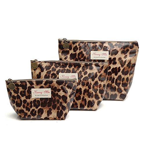Juego de 3 bolsas de cosméticos impermeables, bolsa de viaje portátil para maquillaje, bolsa de embrague para mujeres, niñas
