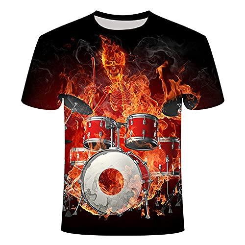 Camiseta Con Estampado 3D,T-Shirt Imprimé En 3D, Nouveau T-Shirt Imprimé En 3D Pour Homme T-Shirt À Rouleau Tendance T-Shirt Guitare Musicale Élastique Respirant T-Shirts De Bande D