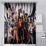 One Piece Anime Fabric Shower Curtain Set with 12 Hooks for Teen Boys Bathroom