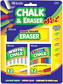 BAZIC 12 Color & 12 White Chalk w/ Eraser Set for School, Crafts, or Outside Play.