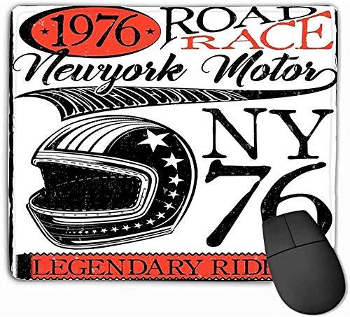 N/A muismat, standaard grootte muismat motorfiets racen typografie poster helm oude motorfiets racen typografie poster helm oud 25 * 30Cm