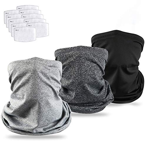 Cooling Neck Gaiter Bandanas Scarf with Safety Carbon Filters, Sport Outdoor Protective Equipment, 13 Pack Both Men and Women Kids