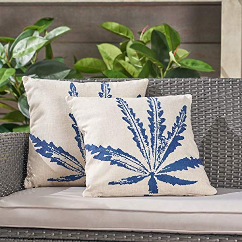 Unknown1 Outdoor 18' Water Resistant Square Pillows (Set of 2) Blue Floral Modern Contemporary Fabric Zippered Closure