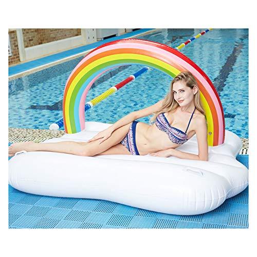 ZGF Gigante Inflable Arco Iris Nube de Arco Iris Piscina Flotante, Flotador de Lujo para Grupos de Piscina de Verano y Entretenimiento