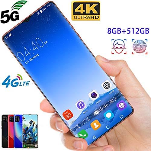 6,7 Zoll 4 / 5G Smartphone, Android-Handy Ganzer Bildschirm Support Face/Fingerabdruck Freischalten Dual SIM Mobile Telefon 4800Mah Batterie,Blau