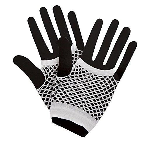 80's Net Gloves - Neon WHITE Fancy Dress Accessory